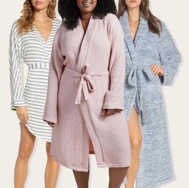 3 women in bathrobes