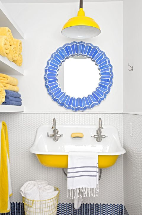 bathroom lighting ideas bright yellow barn light
