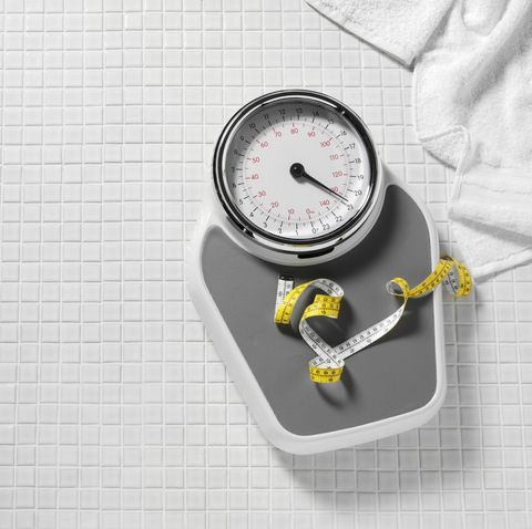 bathroom scales and tape measure