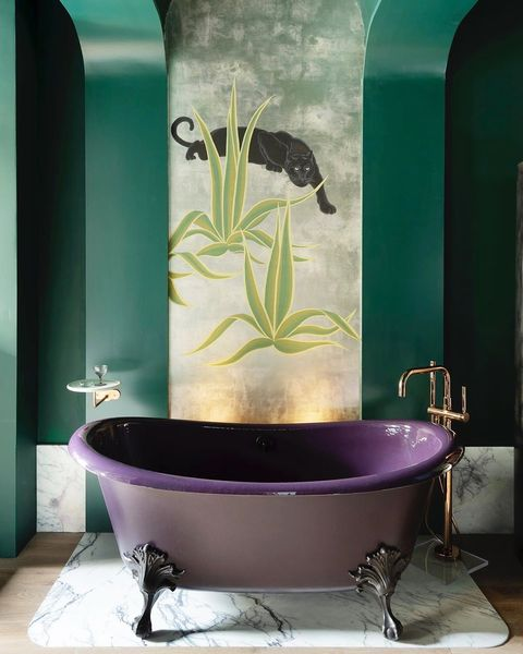 Bathroom, Green, Room, Purple, Tile, Wall, Interior design, Bathtub, Wallpaper, Plumbing fixture,