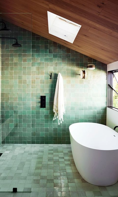 modern bathroom with green zellige tiles
