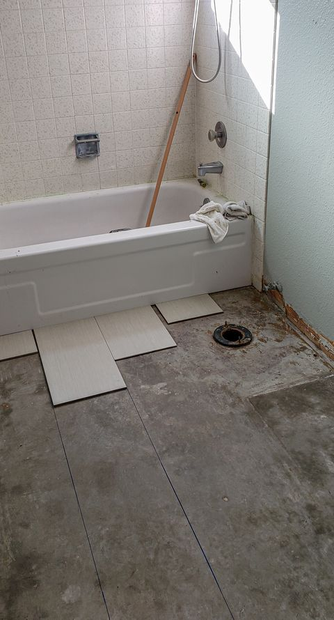 bathroom under renovations being re-tiled