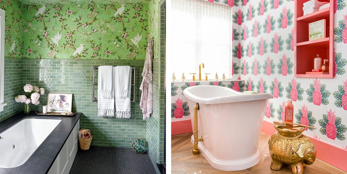 Best Bathroom Wallpaper Ideas - 22 Beautiful Bathroom Wall ...