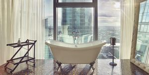 bathroom with a view of Moscow-City