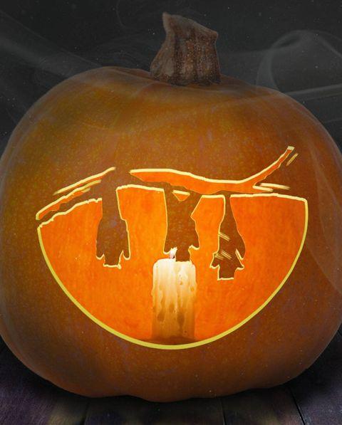 hanging bats design on pumpkin