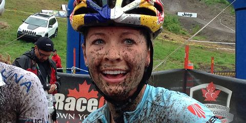 Emily Batty close-up after finishing second in Canadian MTB Nationals