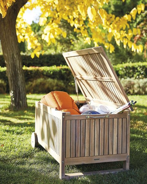 muebles de exterior baúl de madera con ruedas
