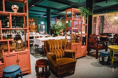 Building, Room, Café, Furniture, Interior design, Coffeehouse, Restaurant, Antique, Chair,