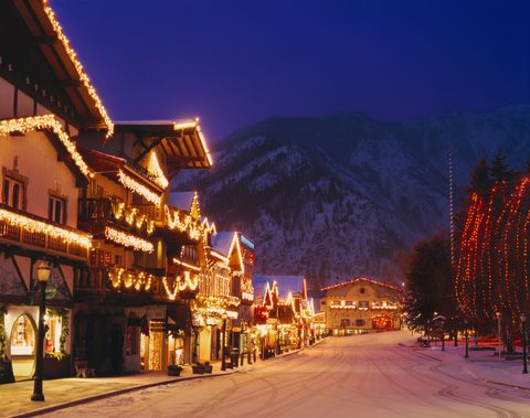 bavarian style village near cascade mountains decorated with christmas lights
