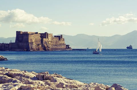 bay of naples, dell'ovo castle and sea