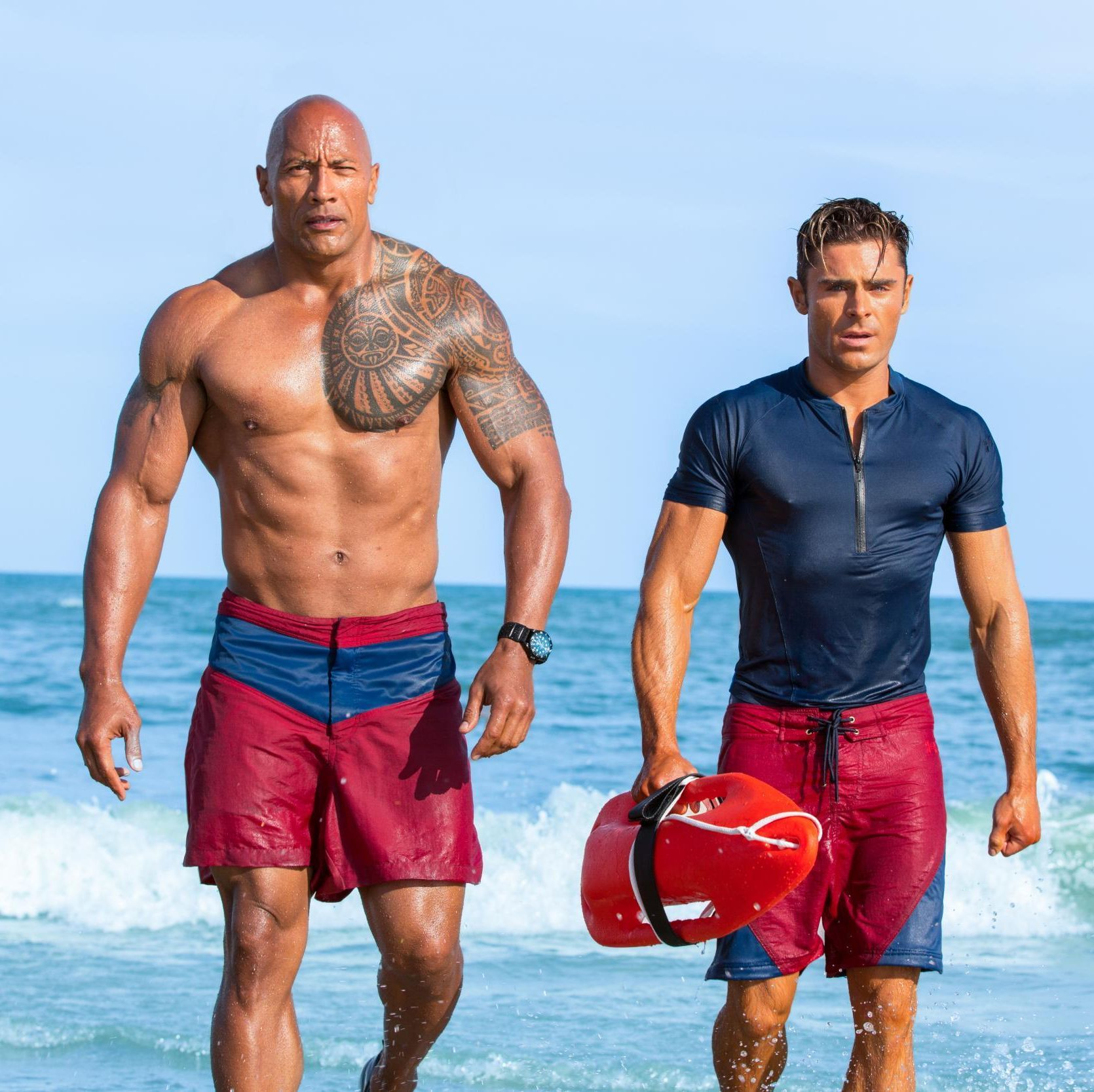 Baywatch Dwayne Johnson battles crime bosses on the beaches of Miami in this R-rated action-comedy update of the popular 1990s TV show, which co-stars Zac Efron.