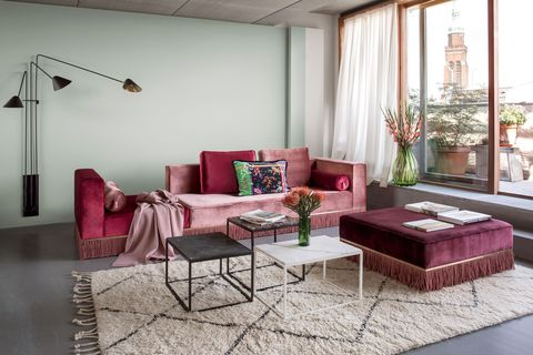 Living room, Room, Furniture, Interior design, Pink, Coffee table, Property, Couch, Table, Purple,