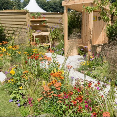 The BBC North West Tonight Sunshine Garden ñ In Memory of Dianne Oxberry. Designed by Lee Burkhill ëThe Garden Ninjaí. Sponsored by BBC North West Tonight. Feature Garden. RHS Flower Show Tatton Park 2019. Stand no. 310