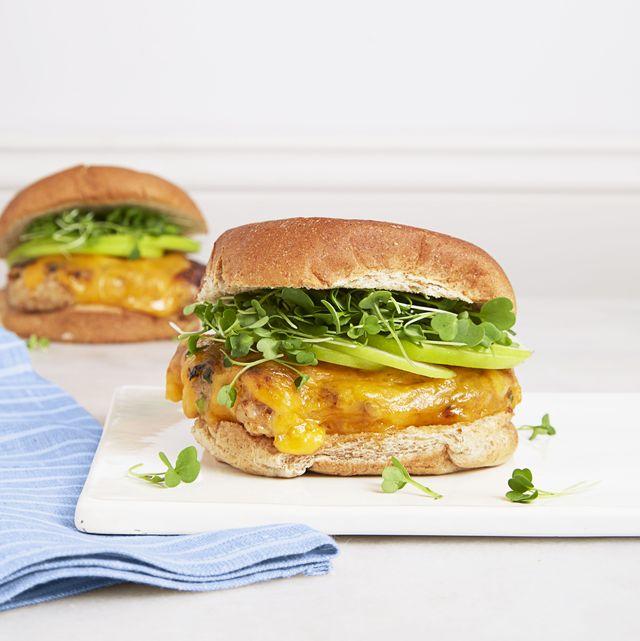 bbq chicken  cheddar burgers