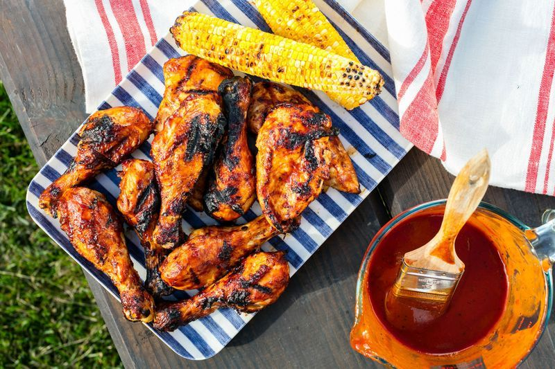 Roasted Chicken On Barbecue Grill