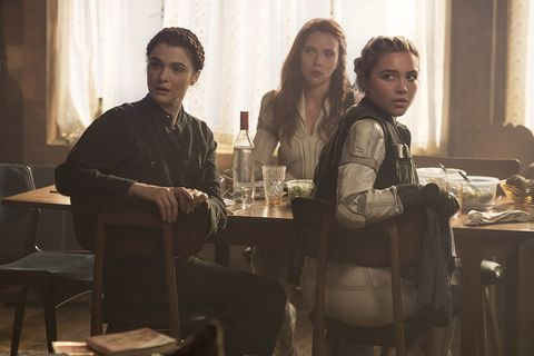 l r melina rachel weisz, black widownatasha romanoff scarlett johansson and yelena florence pugh in marvel studios' black widow, in theaters and on disney with premier access photo by jay maidment ©marvel studios 2021 all rights reserved