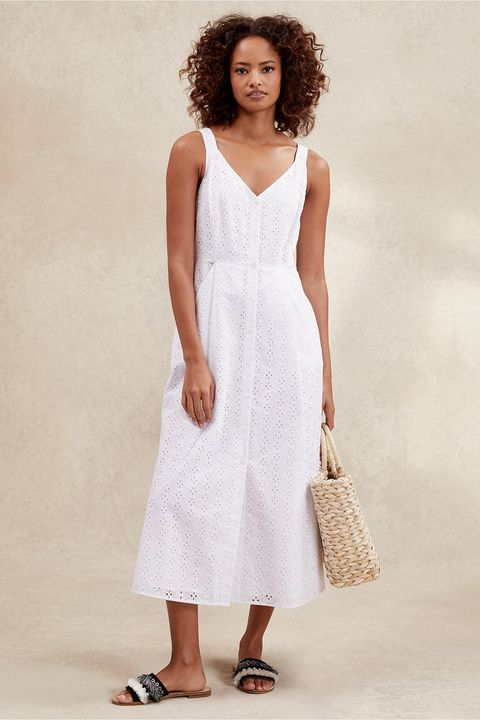 The White Company Cotton Broderie Fit & Flare Dress
