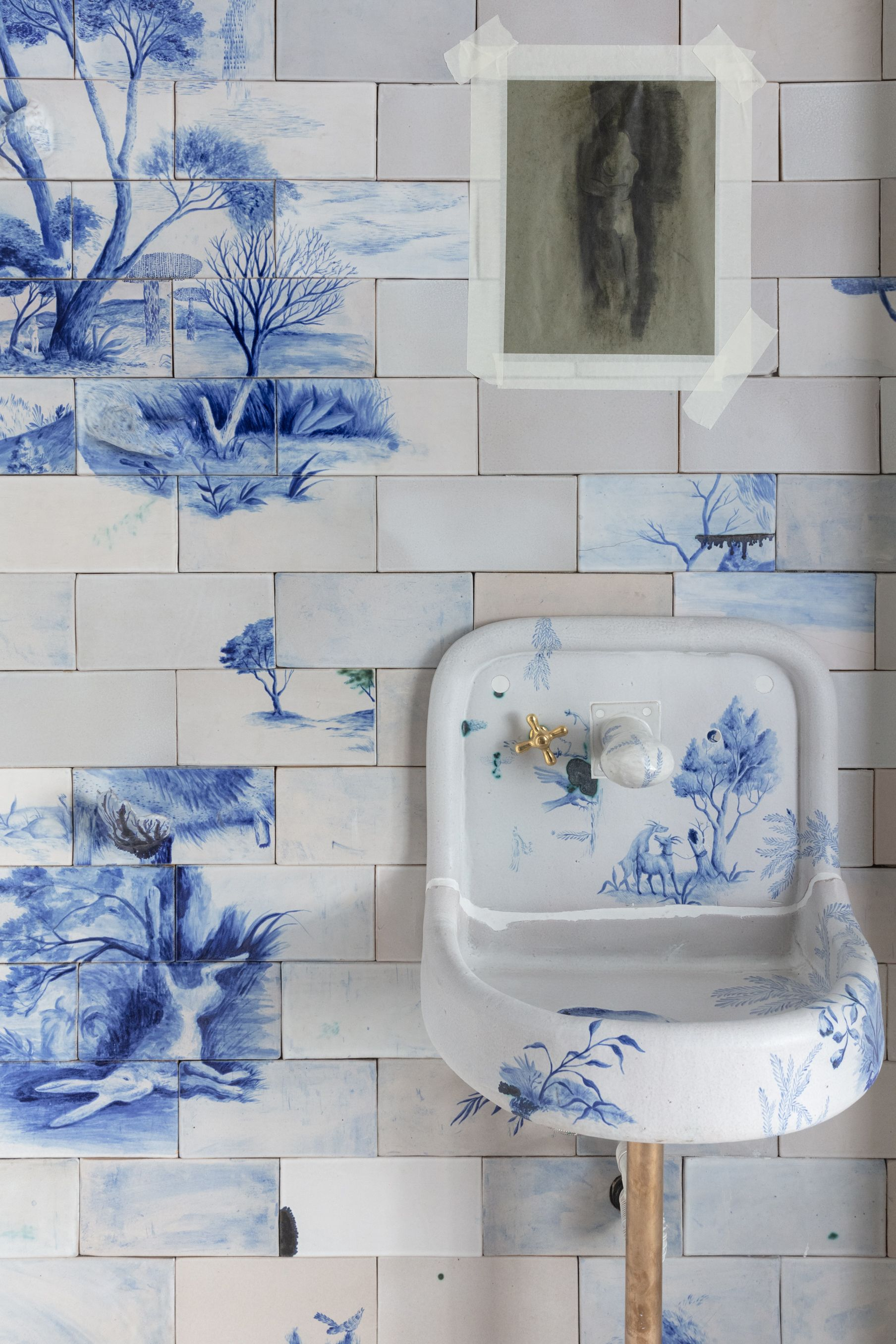 Hand-painted toile bathroom tile set every designer's heart (and their Instagrams) ablaze at New York and Milan – based design studio BDDW's showroom.