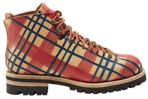 Footwear, Shoe, Tartan, Brown, Pattern, Beige, Hiking boot, Tan, Boot, Design,
