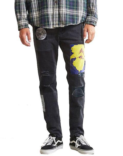 Clothing, Jeans, Pocket, Denim, Plaid, Trousers, Pattern, Design, Waist, Textile,