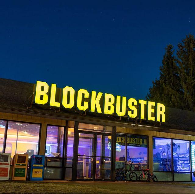 blockbuster video store at night