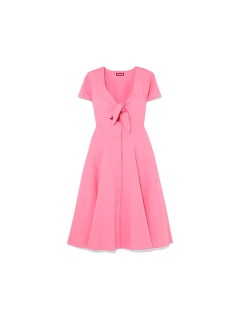 Clothing, Pink, Dress, Day dress, Sleeve, A-line, Cocktail dress, Neck, Magenta, Collar,