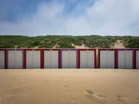 Beach cabins at North Sea beach in Domburg, Zeeland, the Netherlands