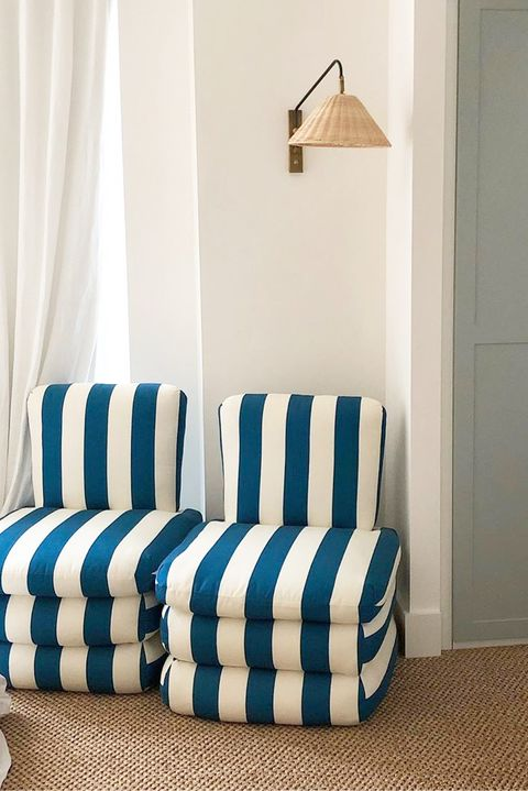 corner with contemporary blue and white striped chairs