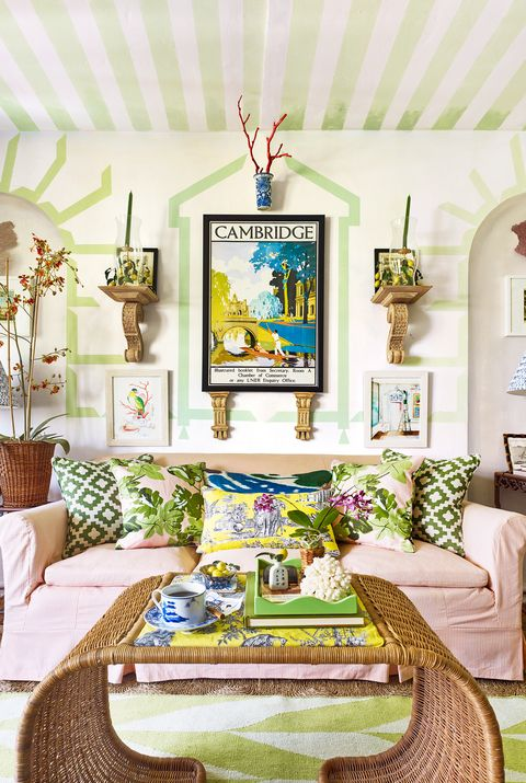 green and coral living room