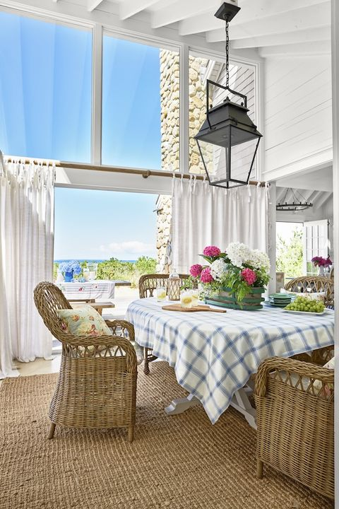 romantic beach house dining room with ocean view