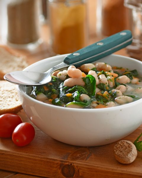 bean soup and spinach