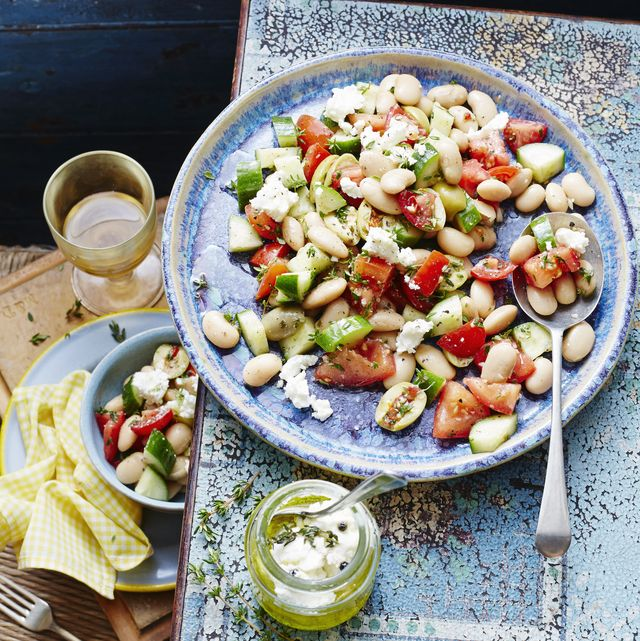 bean, tomato and goats cheese salad