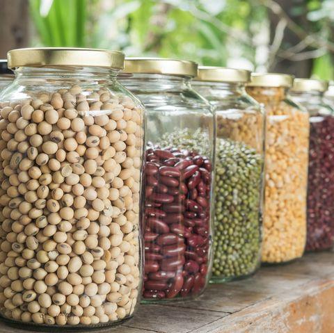 Mason jar, Food, Food storage containers, Superfood, Plant, Bean, Lentil, Ingredient, Mung bean, Legume,