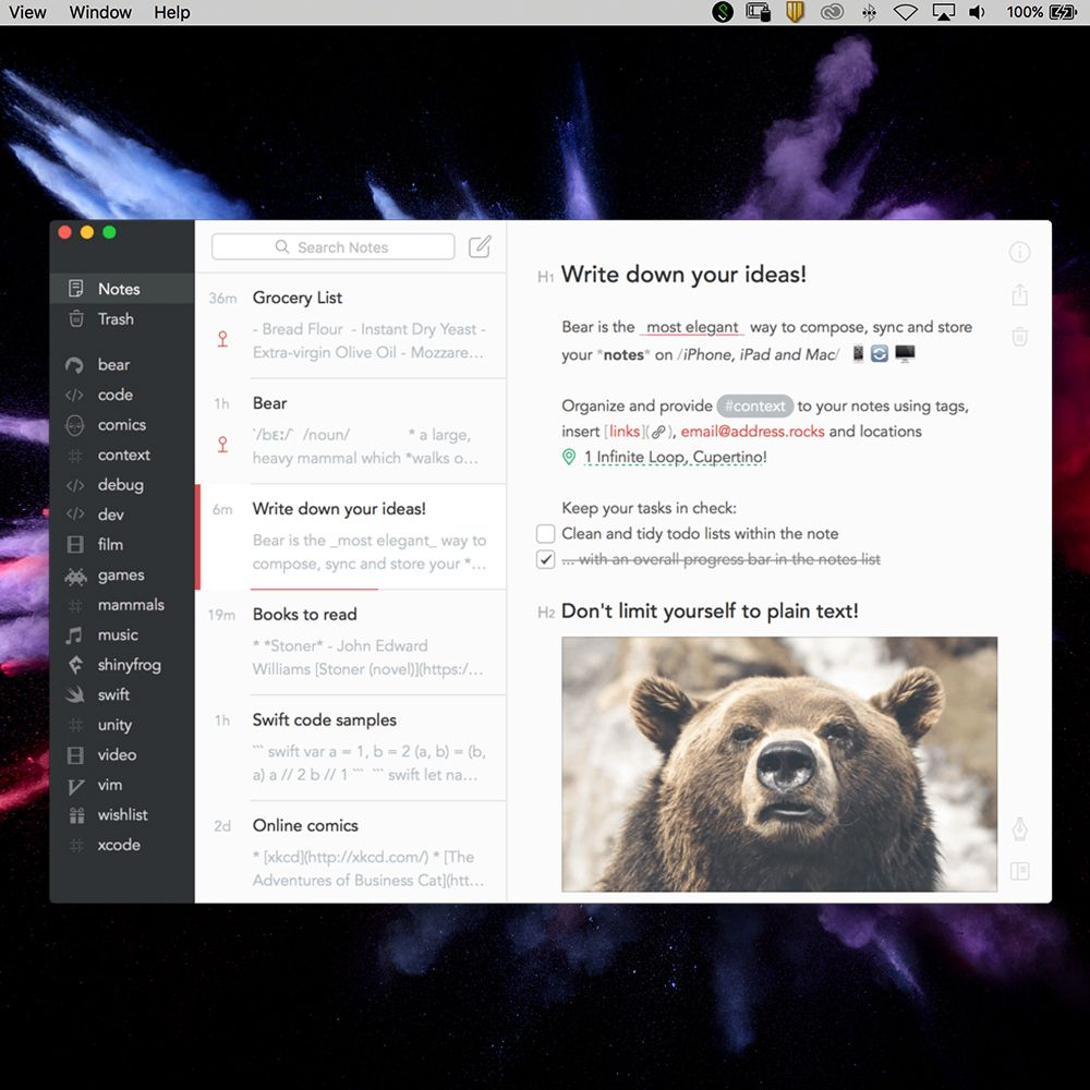 Bear for Writing and Note Taking