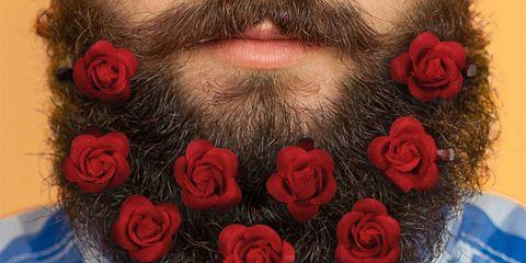 Facial hair, Hair, Beard, Red, Rose, Lip, Close-up, Cheek, Chin, Flower,