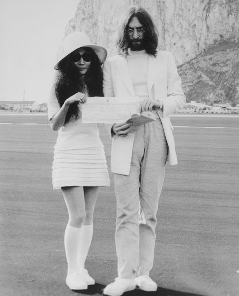 john lennon and yoko ono holding marriage certificate