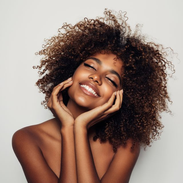 beautiful afro woman with perfect make up