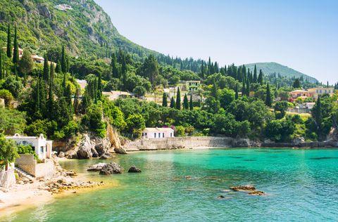 beautiful bay in paleokastritsa in corfu island, greece
