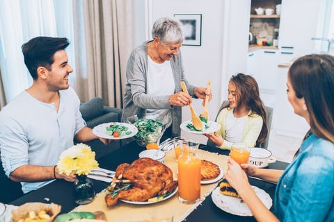 Beautiful big Family enjoys lunch together