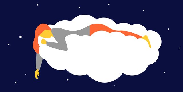 beautiful girl sleeping and dreaming in the clouds
