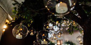 Beautiful hanging glass balls for candles, close-up. Modern wedding decor tendencies. Minimalism