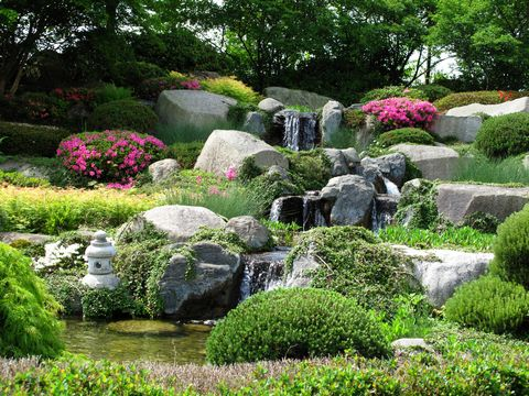 beautiful stonegarden with waterfalls