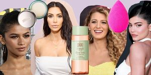 Collage van celebrities en hun favoriete beautyproducten