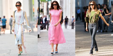 Clothing, Pink, White, Fashion model, Street fashion, Fashion, Dress, Jeans, Footwear, Eyewear,