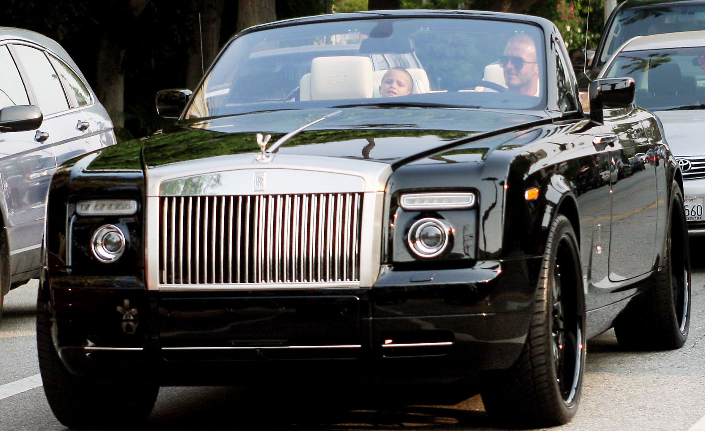 David Beckham in a Rolls-Royce
