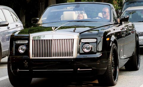 David Beckham in a Rolls-Royce