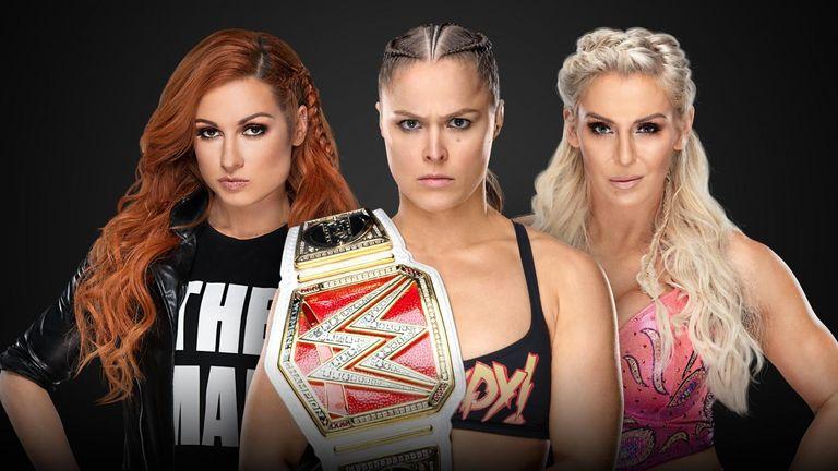 Ronda Rousey (C-RAW) vs Charlotte Flair (C-SD) vs Becky Lynch.