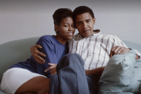 young michelle and barack obama