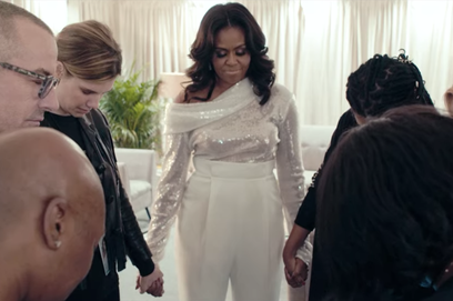 michelle obama as she prepares to go on stage in netflix's becoming