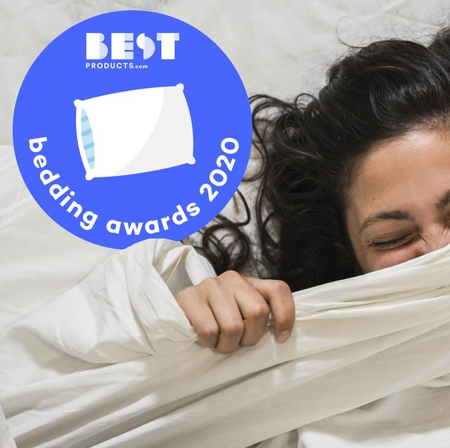 woman under sheets with bestproductscom bedding awards 2020 badge